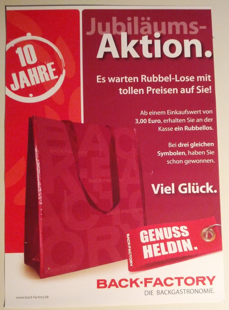 Back-Factory Jubiläumsaktion