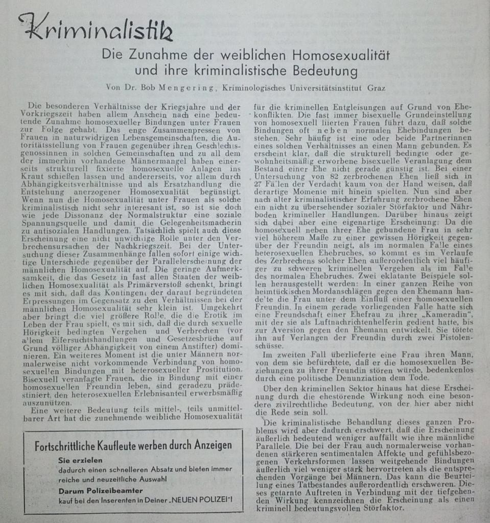 die Zunahme der weiblichen Homosexualität (Die Neue Polizei, 1/1950)