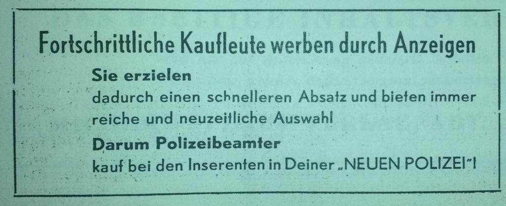 """aus """"Die Neue Polizei, 1/1950"""""""