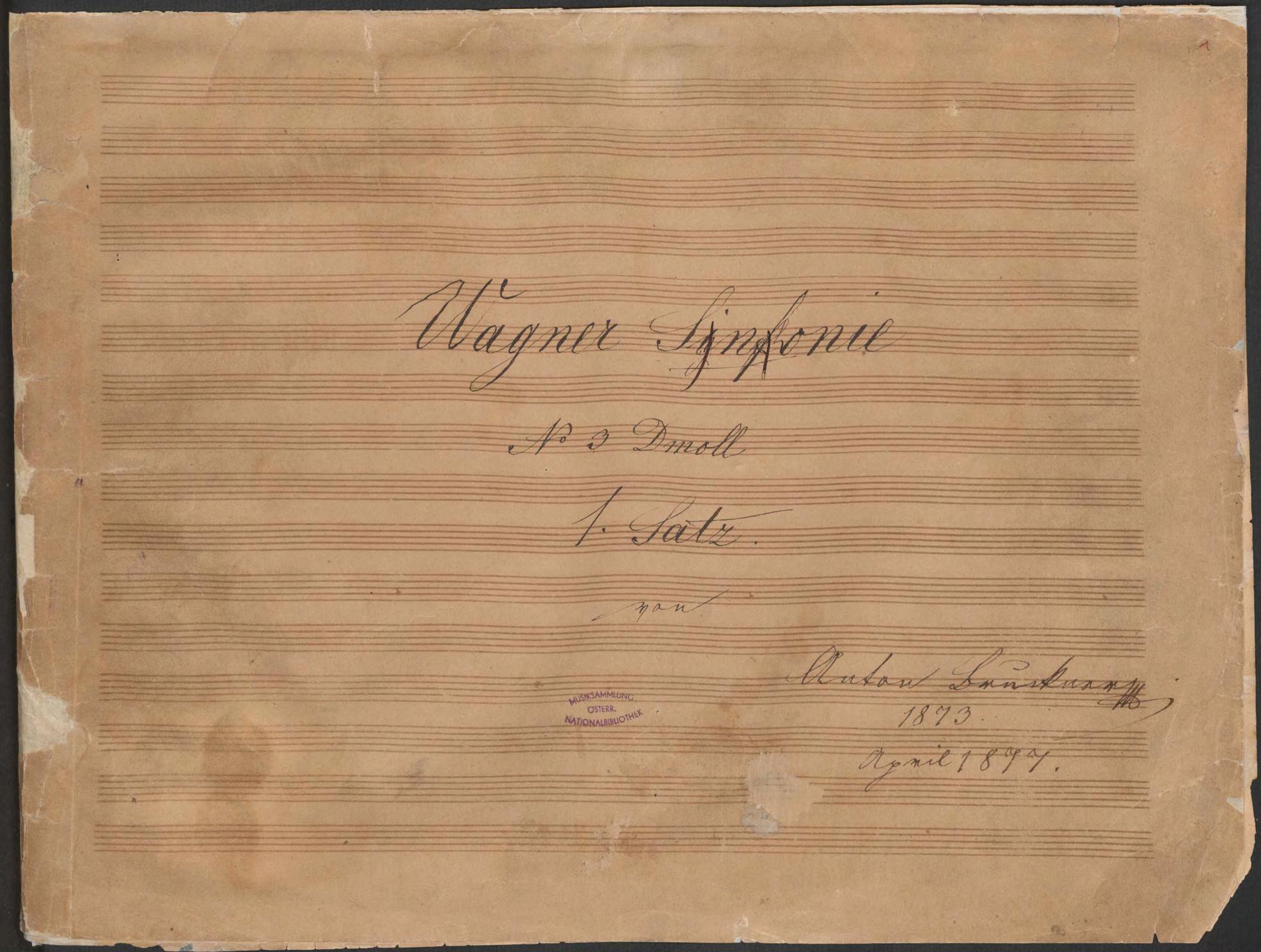 bruckner, sinfonie 3, titelblatt